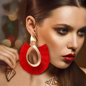 Red Large Bohemian Tassel Earrings Women Handmade